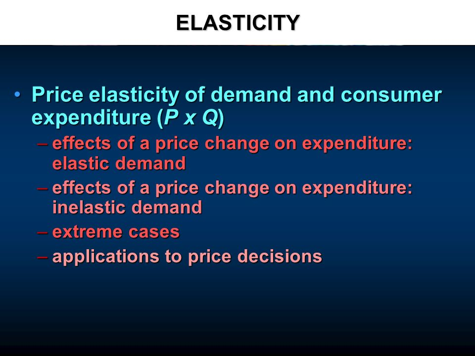 ELASTICITY Price elasticity of demand and consumer expenditure (P x Q)Price elasticity of demand and consumer expenditure (P x Q) –effects of a price change on expenditure: elastic demand –effects of a price change on expenditure: inelastic demand –extreme cases –applications to price decisions