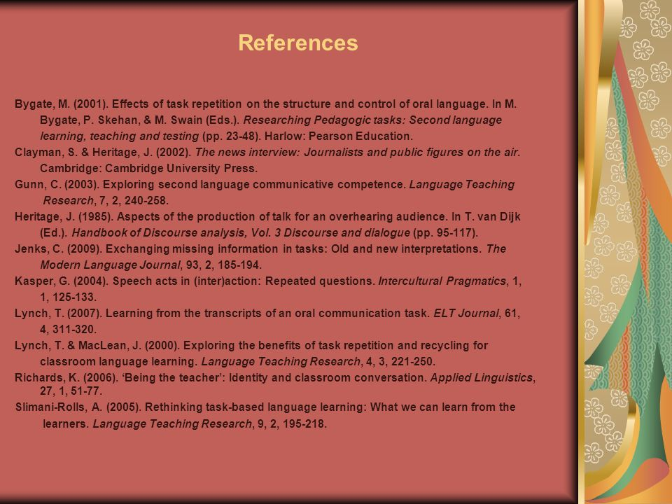 References Bygate, M. (2001).