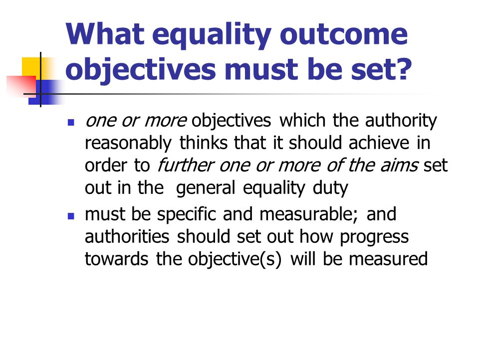 What equality outcome objectives must be set? one or more objectives which the authority reasonably thinks that it should achieve in order to further