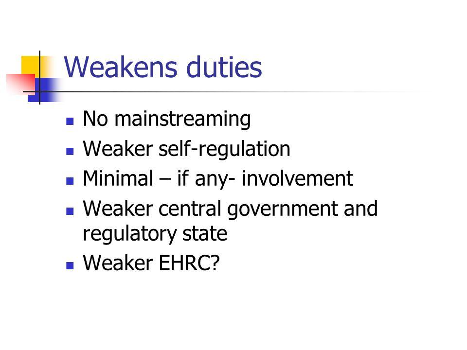 Weakens duties No mainstreaming Weaker self-regulation Minimal – if any- involvement Weaker central government and regulatory state Weaker EHRC?