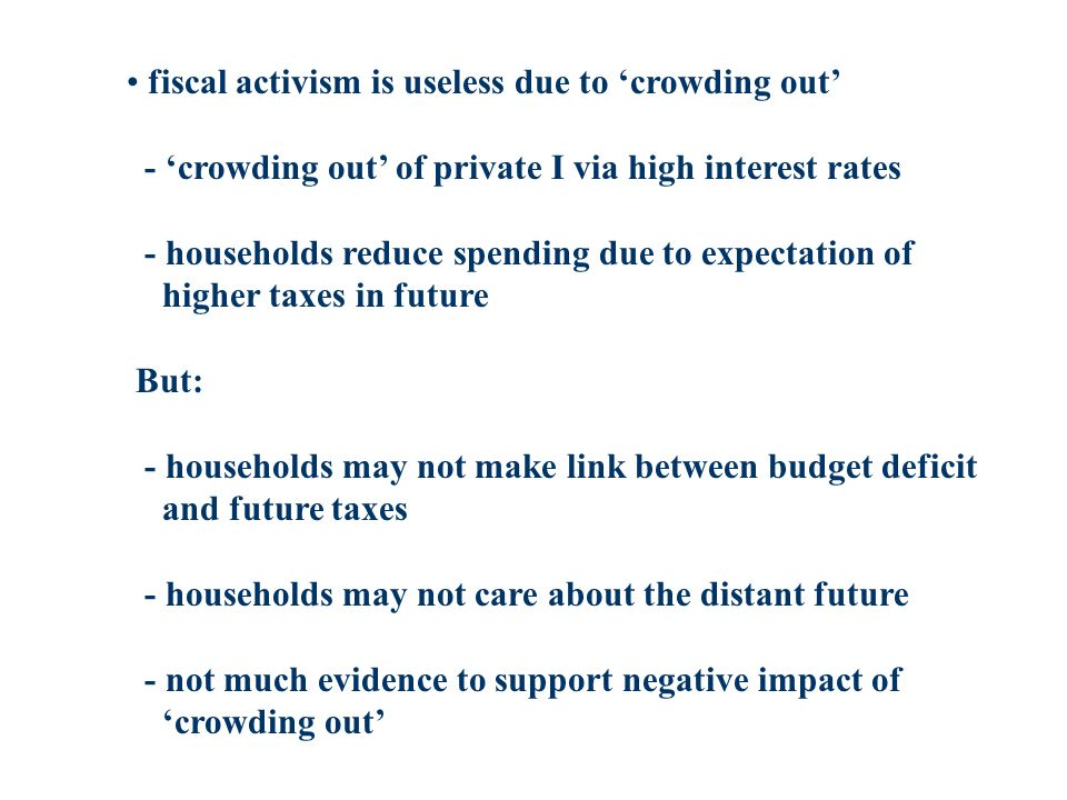 fiscal activism is useless due to crowding out - crowding out of private I via high interest rates - households reduce spending due to expectation of higher taxes in future But: - households may not make link between budget deficit and future taxes - households may not care about the distant future - not much evidence to support negative impact of crowding out