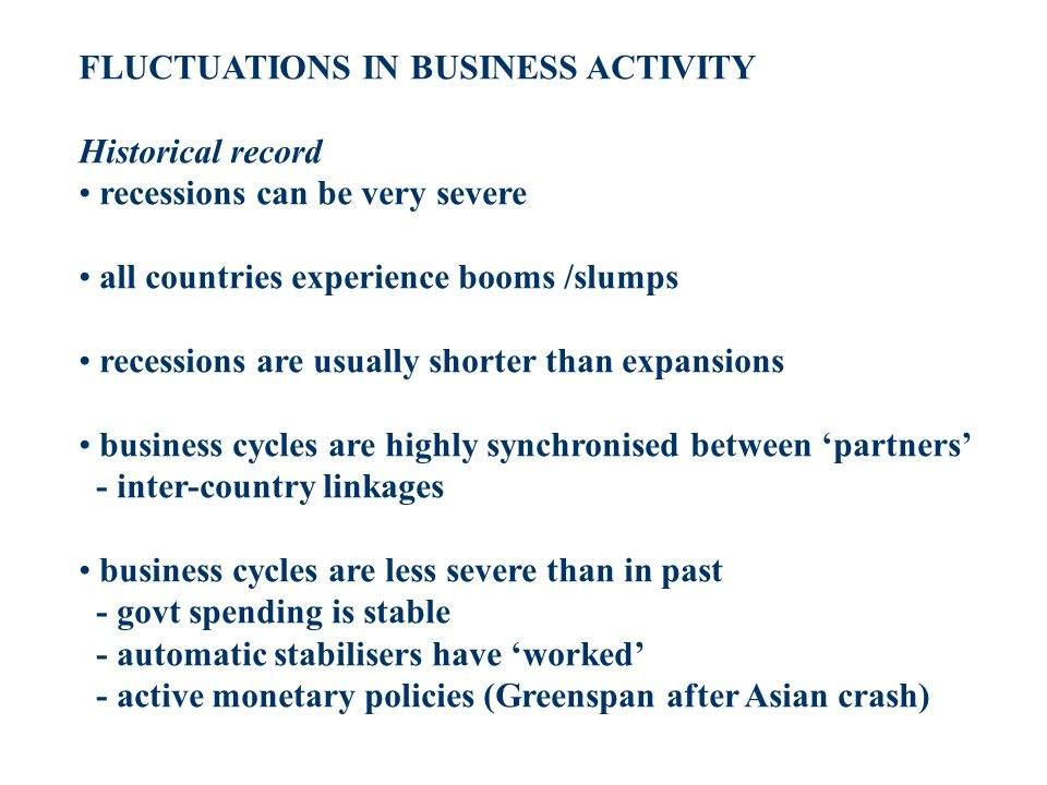FLUCTUATIONS IN BUSINESS ACTIVITY Historical record recessions can be very severe all countries experience booms /slumps recessions are usually shorter than expansions business cycles are highly synchronised between partners - inter-country linkages business cycles are less severe than in past - govt spending is stable - automatic stabilisers have worked - active monetary policies (Greenspan after Asian crash)