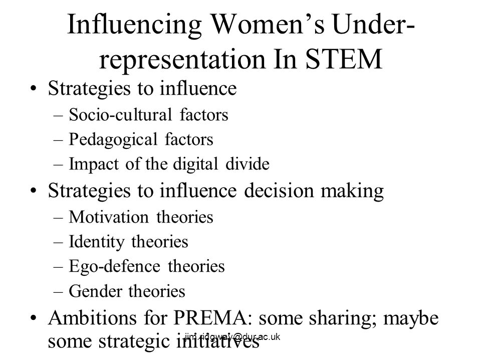 jim.ridgway@dur.ac.uk Influencing Womens Under- representation In STEM Strategies to influence –Socio-cultural factors –Pedagogical factors –Impact of