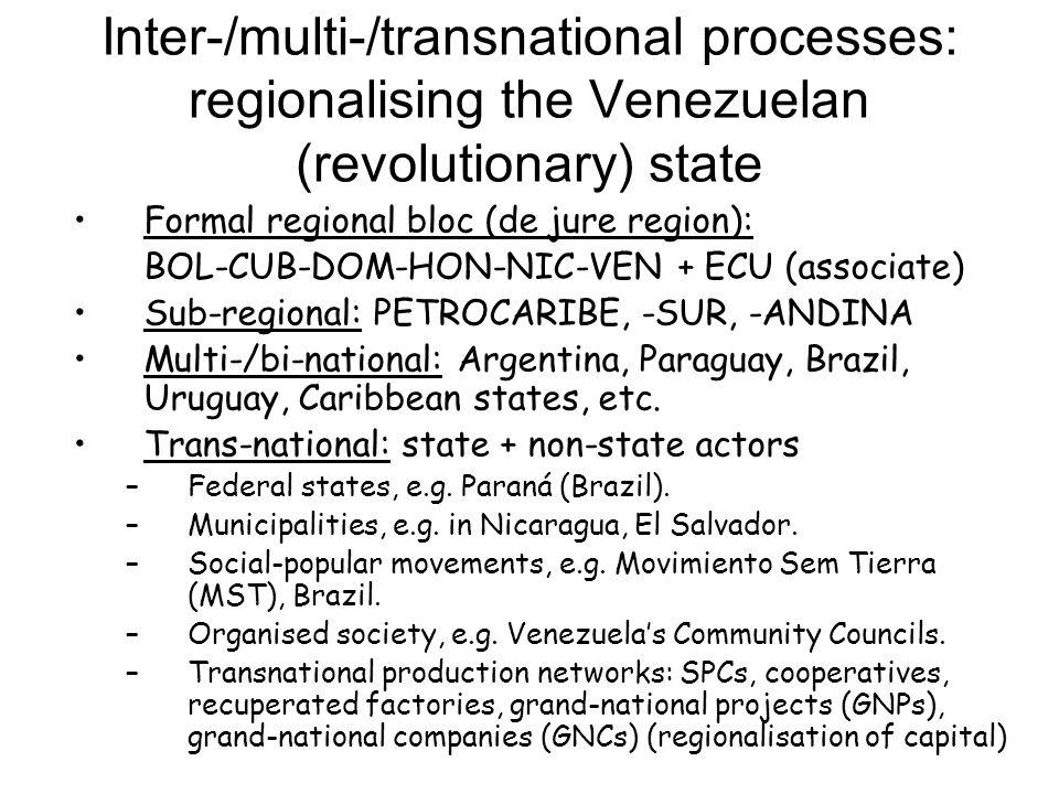 Inter-/multi-/transnational processes: regionalising the Venezuelan (revolutionary) state Formal regional bloc (de jure region): BOL-CUB-DOM-HON-NIC-V