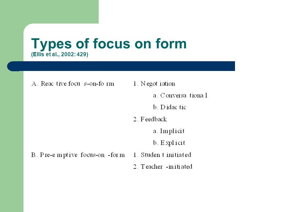 Types of focus on form (Ellis et al., 2002: 429)