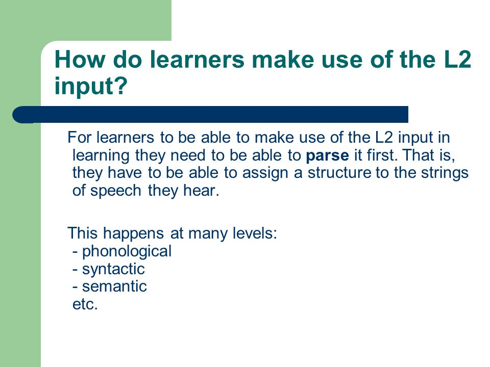How do learners make use of the L2 input.