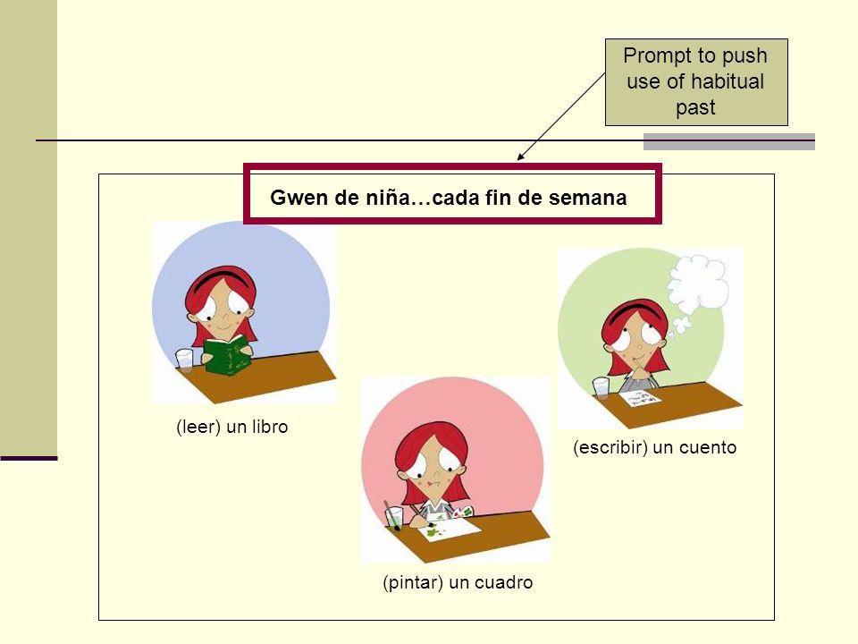 Gwen de niña…cada fin de semana (leer) un libro (pintar) un cuadro (escribir) un cuento Prompt to push use of habitual past