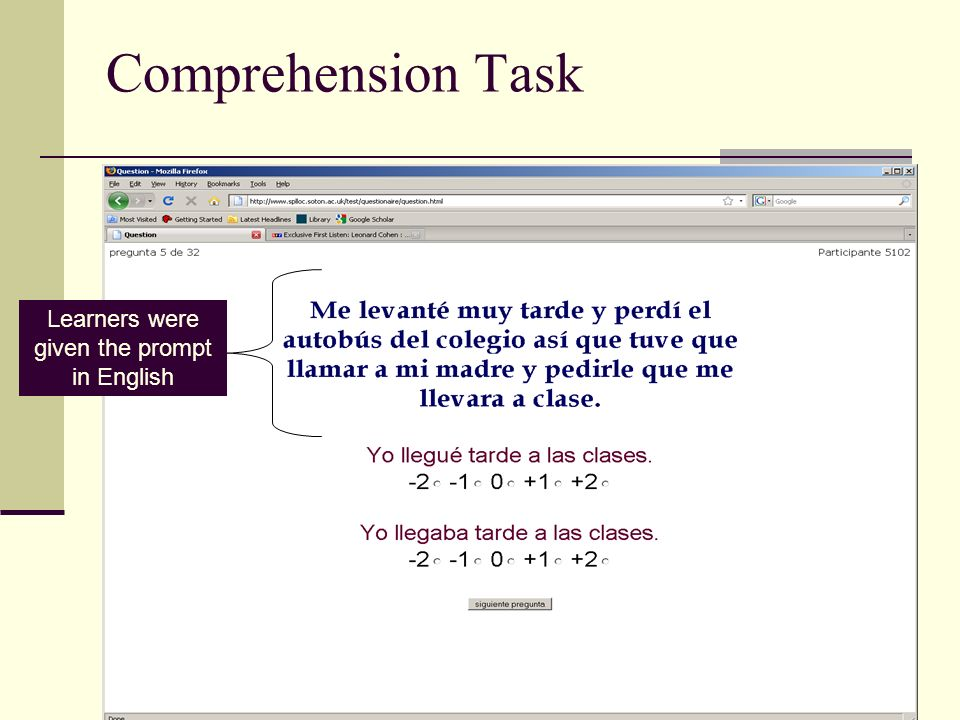 Comprehension Task Learners were given the prompt in English