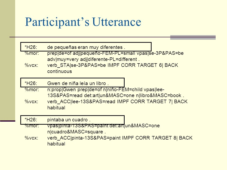 Participants Utterance *H26:de pequeñas eran muy diferentes. %mor:prep|de=of adj|pequeño-FEM-PL=small vpas|se-3P&PAS=be adv|muy=very adj|diferente-PL=