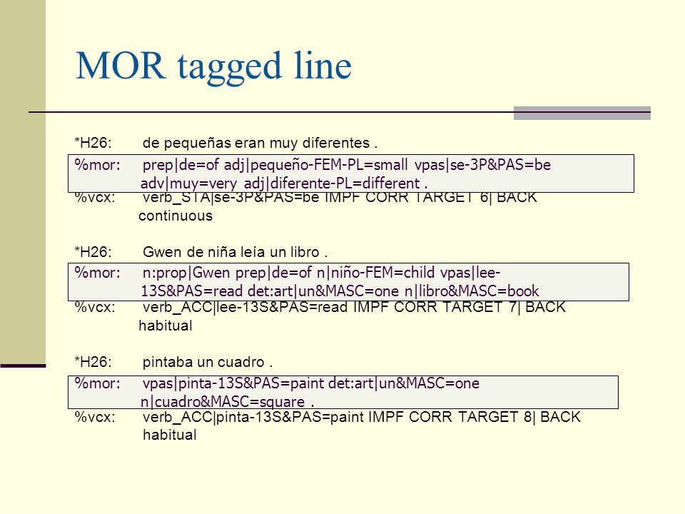MOR tagged line *H26:de pequeñas eran muy diferentes. %vcx:verb_STA|se-3P&PAS=be IMPF CORR TARGET 6| BACK continuous *H26:Gwen de niña leía un libro.