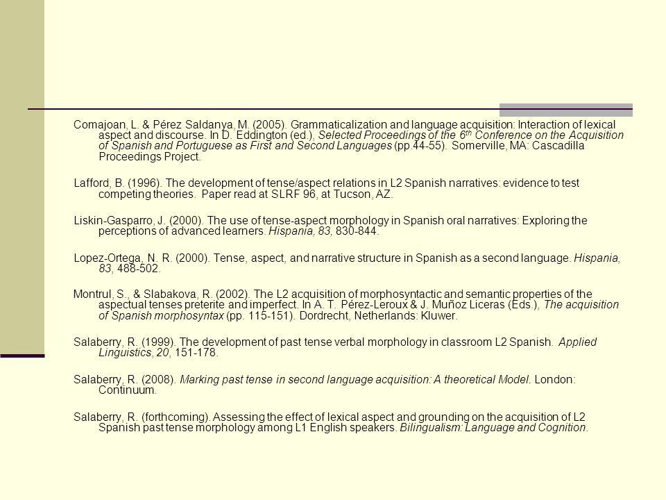 Comajoan, L. & Pérez Saldanya, M. (2005). Grammaticalization and language acquisition: Interaction of lexical aspect and discourse. In D. Eddington (e