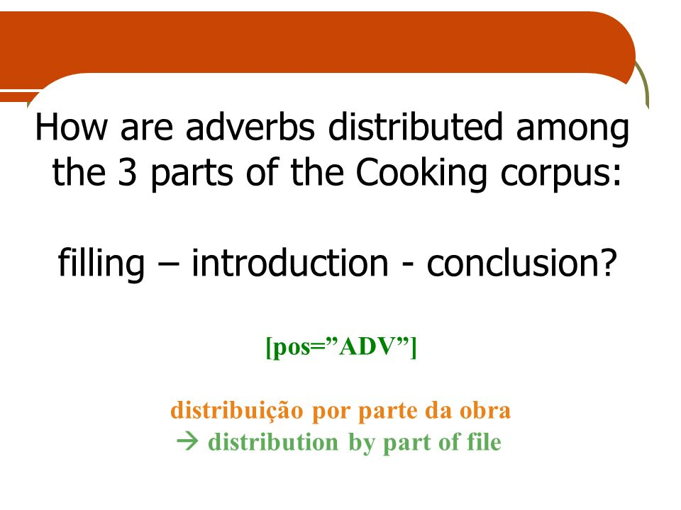 How are adverbs distributed among the 3 parts of the Cooking corpus: filling – introduction - conclusion? [pos=ADV] distribuição por parte da obra dis