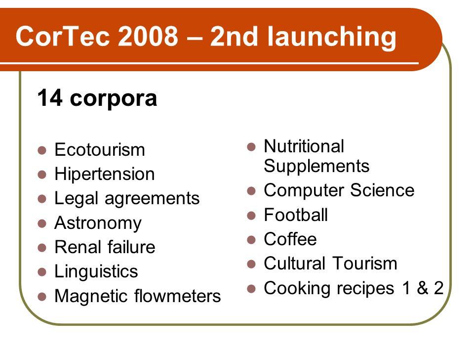 CorTec 2008 – 2nd launching 14 corpora Ecotourism Hipertension Legal agreements Astronomy Renal failure Linguistics Magnetic flowmeters Nutritional Su