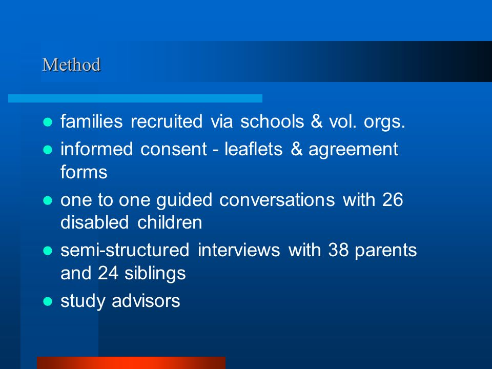 Sample: Disabled children 26 children aged between 7 and 15 15 boys and 11 girls 9-10 year olds were the largest group – 13 in total