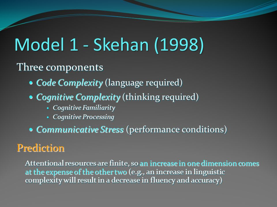 Model 2 – Robinson (2007) Triadic Componential Framework Task Complexity Task Complexity (cognitive factors) Resource-directing (developmental) Resource-dispersing (performative) Task Conditions Task Conditions (interactional factors) Task Difficulty Task Difficulty (learner factors)Prediction An increase in task complexity along resource-directing dimensions increases both linguistic complexity and accuracy An increase in task complexity along resource-directing dimensions decreases fluency, but increases both linguistic complexity and accuracy.