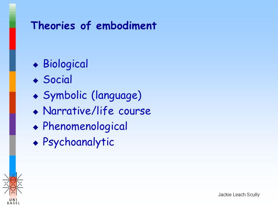 Jackie Leach Scully Theories of embodiment u Biological u Social u Symbolic (language) u Narrative/life course u Phenomenological u Psychoanalytic