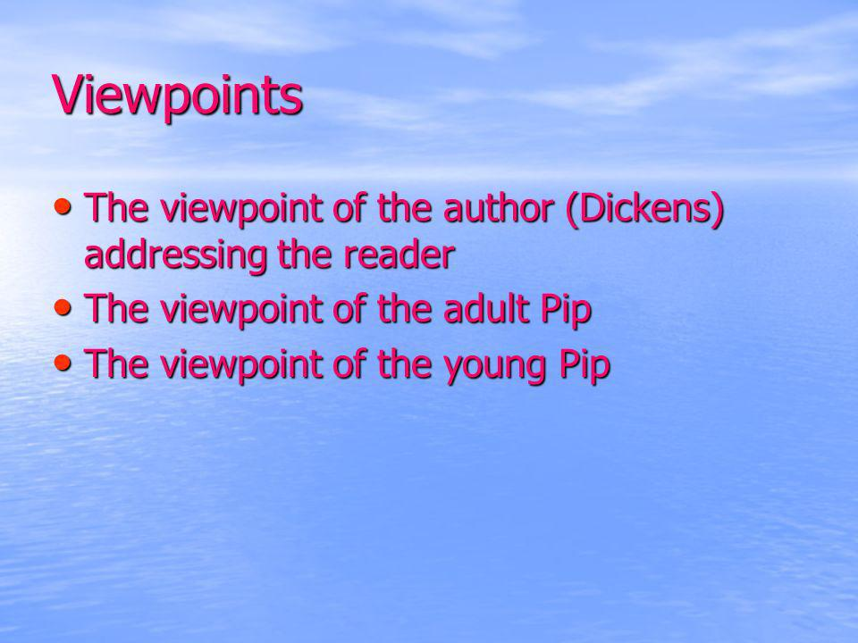 Viewpoints The viewpoint of the author (Dickens) addressing the reader The viewpoint of the author (Dickens) addressing the reader The viewpoint of th