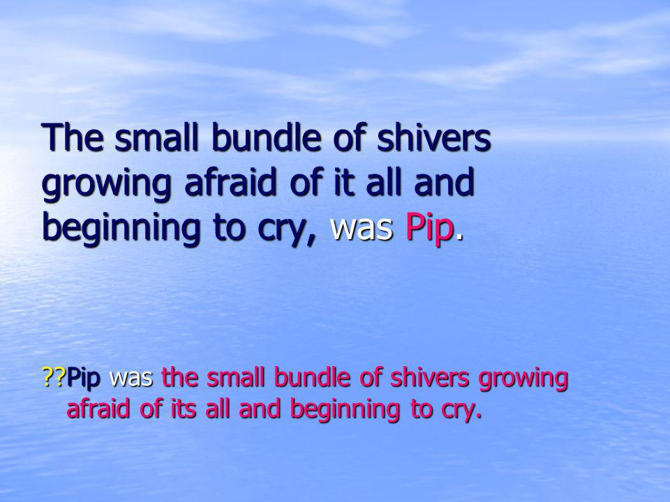 The small bundle of shivers growing afraid of it all and beginning to cry, was Pip. ??Pip was the small bundle of shivers growing afraid of its all an