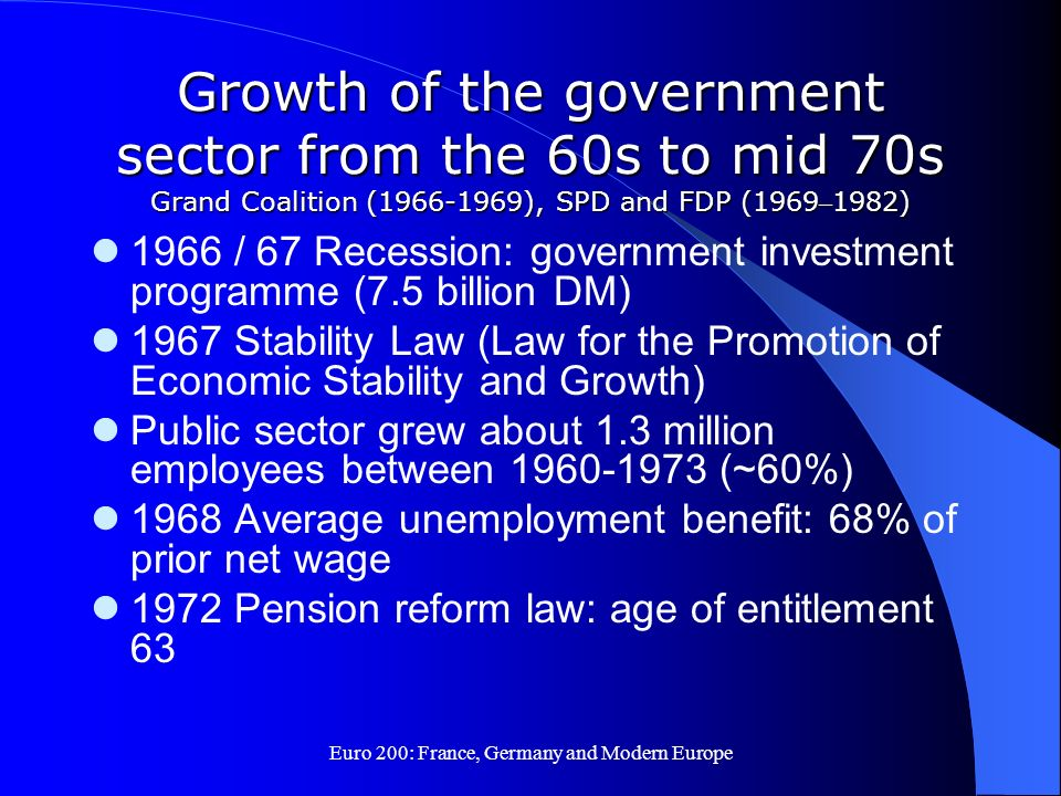 Euro 200: France, Germany and Modern Europe Growth of the government sector from the 60s to mid 70s Grand Coalition (1966-1969), SPD and FDP (1969 – 1