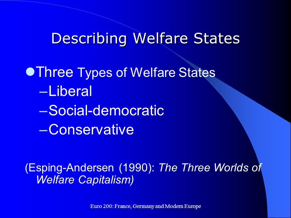 Euro 200: France, Germany and Modern Europe Describing Welfare States Three Types of Welfare States –Liberal –Social-democratic –Conservative (Esping-