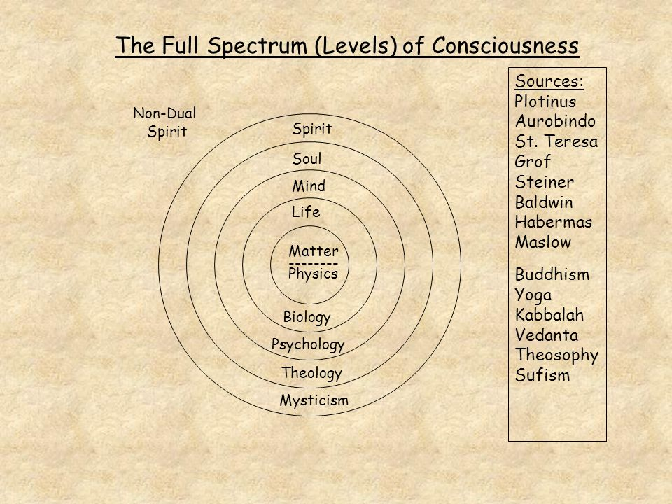 Matter -------- Physics Life Mind Soul Spirit Biology Psychology Theology Mysticism The Full Spectrum (Levels) of Consciousness Sources: Plotinus Aurobindo St.