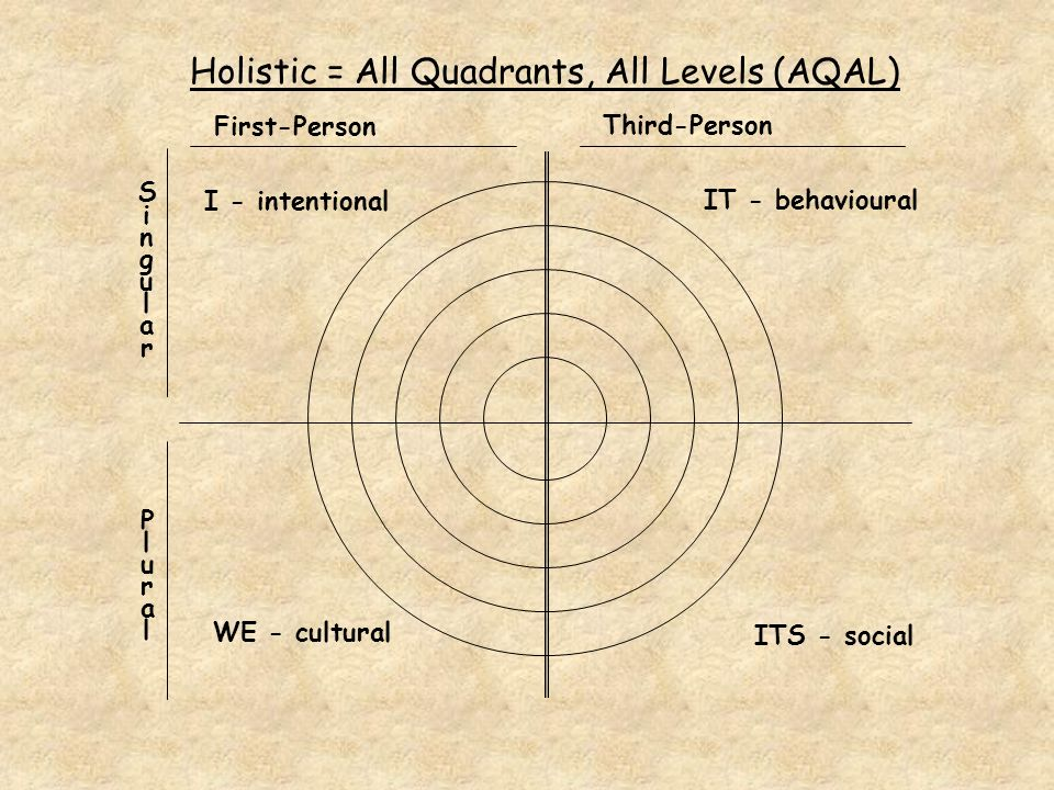 Holistic = All Quadrants, All Levels (AQAL) I - intentional WE - cultural ITS - social IT - behavioural First-Person Third-Person SingularSingular Plural Plural