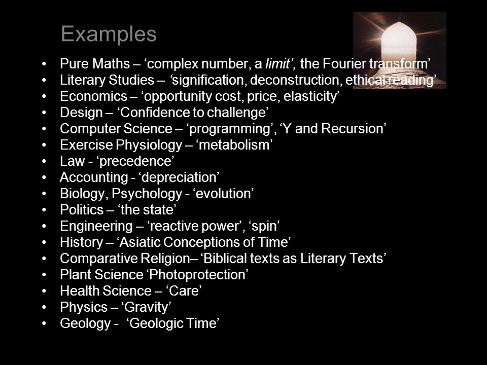 Examples Pure Maths – complex number, a limit, the Fourier transform Literary Studies – signification, deconstruction, ethical reading Economics – opp