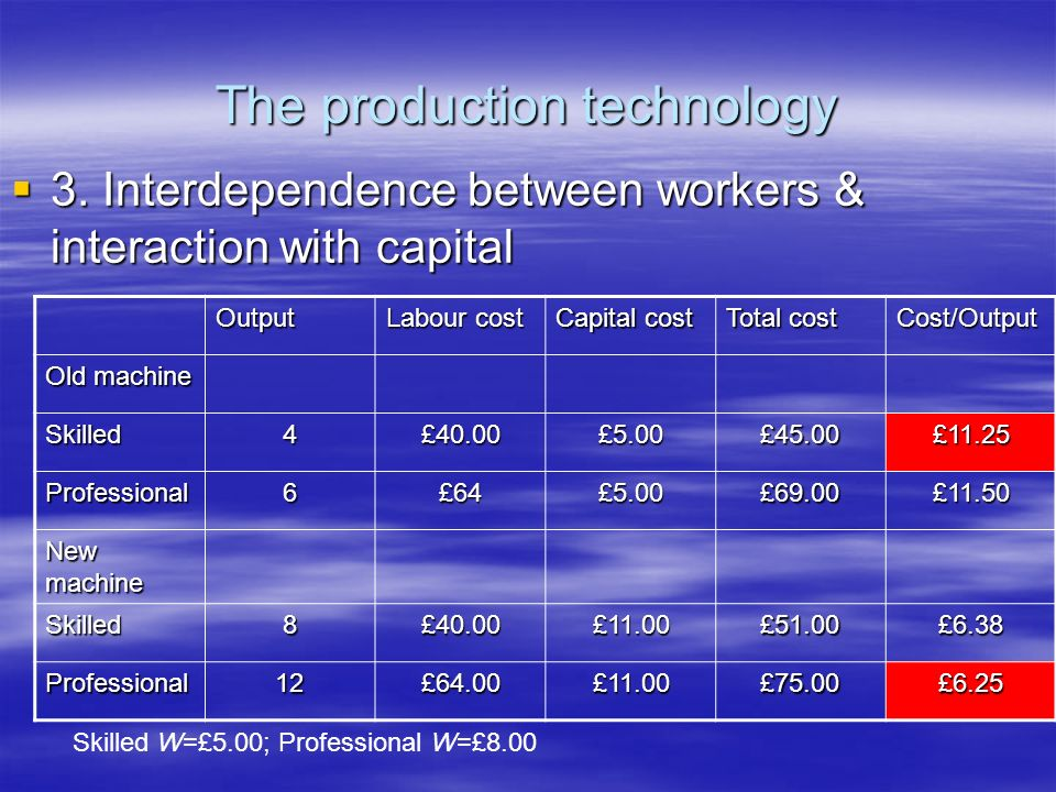 The production technology 3. Interdependence between workers & interaction with capital 3.