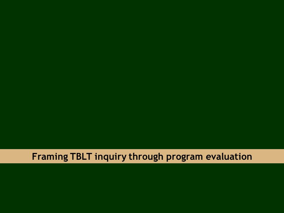 Framing TBLT inquiry through program evaluation