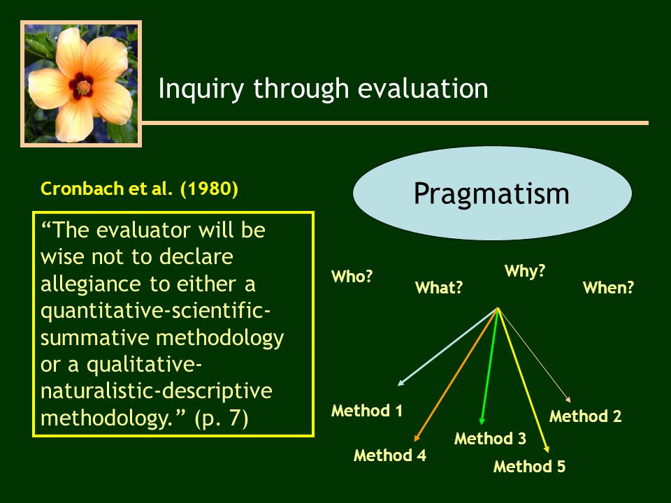 The evaluator will be wise not to declare allegiance to either a quantitative-scientific- summative methodology or a qualitative- naturalistic-descriptive methodology.