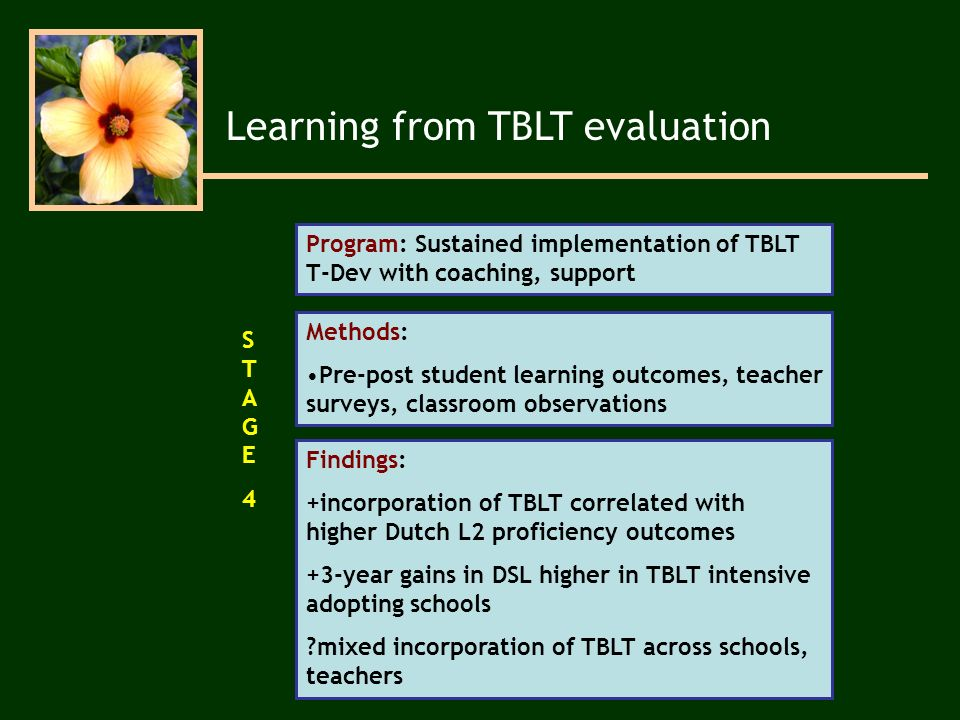 Program: Sustained implementation of TBLT T-Dev with coaching, support Methods: Pre-post student learning outcomes, teacher surveys, classroom observations Findings: +incorporation of TBLT correlated with higher Dutch L2 proficiency outcomes +3-year gains in DSL higher in TBLT intensive adopting schools mixed incorporation of TBLT across schools, teachers STAGE4STAGE4 Learning from TBLT evaluation