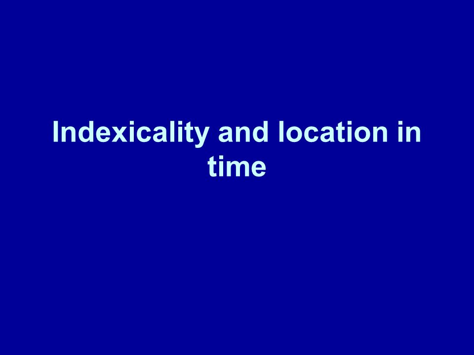 Indexicality and location in time