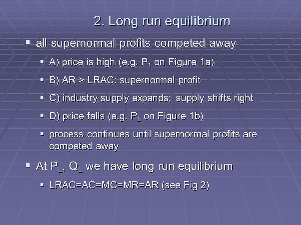 OO S1S1 D (a) Industry P£ Q (millions) P1P1 (b) Firm AR 1 LRAC PLPL AR L QLQL SeSe D1D1 DLDL Q (thousands) Fig 1b Long-run equilibrium under perfect competition