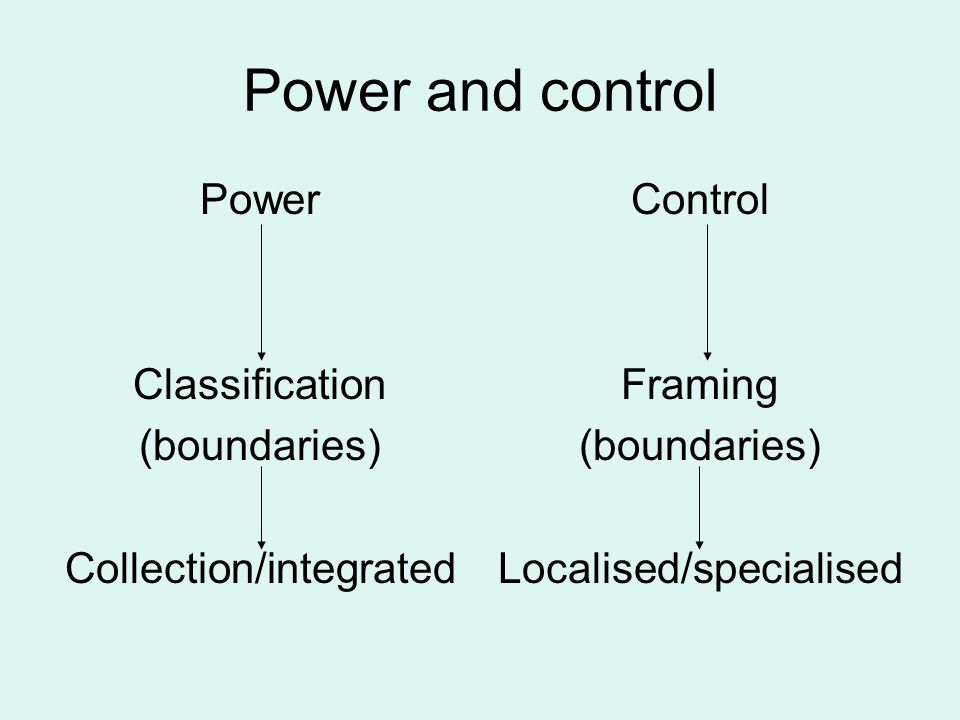 Power and control Power Classification (boundaries) Collection/integrated Control Framing (boundaries) Localised/specialised