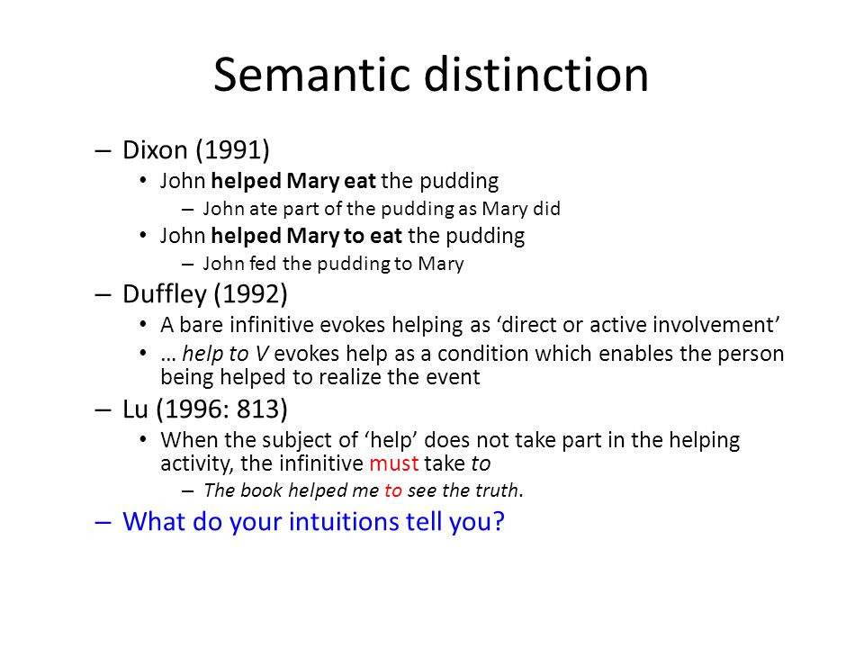 Semantic distinction Not reported in more recent corpus-based works (e.g.