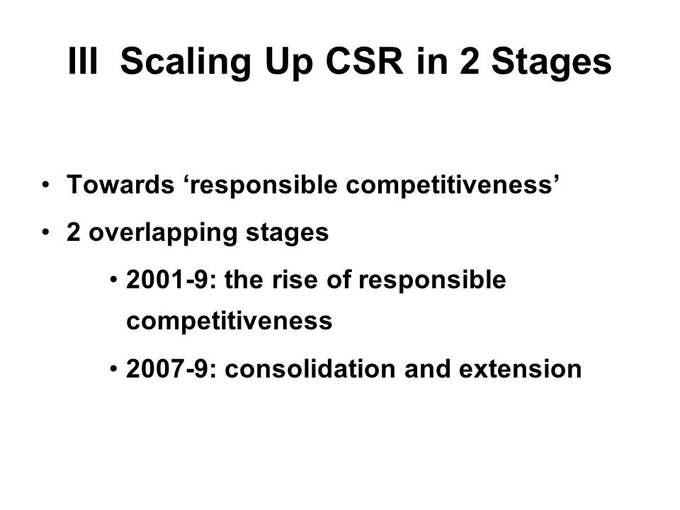 III Scaling Up CSR in 2 Stages Towards responsible competitiveness 2 overlapping stages 2001-9: the rise of responsible competitiveness 2007-9: consolidation and extension