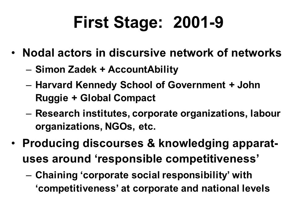 First Stage: 2001-9 Nodal actors in discursive network of networks –Simon Zadek + AccountAbility –Harvard Kennedy School of Government + John Ruggie + Global Compact –Research institutes, corporate organizations, labour organizations, NGOs, etc.