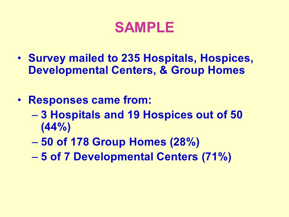 SAMPLE Survey mailed to 235 Hospitals, Hospices, Developmental Centers, & Group Homes Responses came from: –3 Hospitals and 19 Hospices out of 50 (44%) –50 of 178 Group Homes (28%) –5 of 7 Developmental Centers (71%)