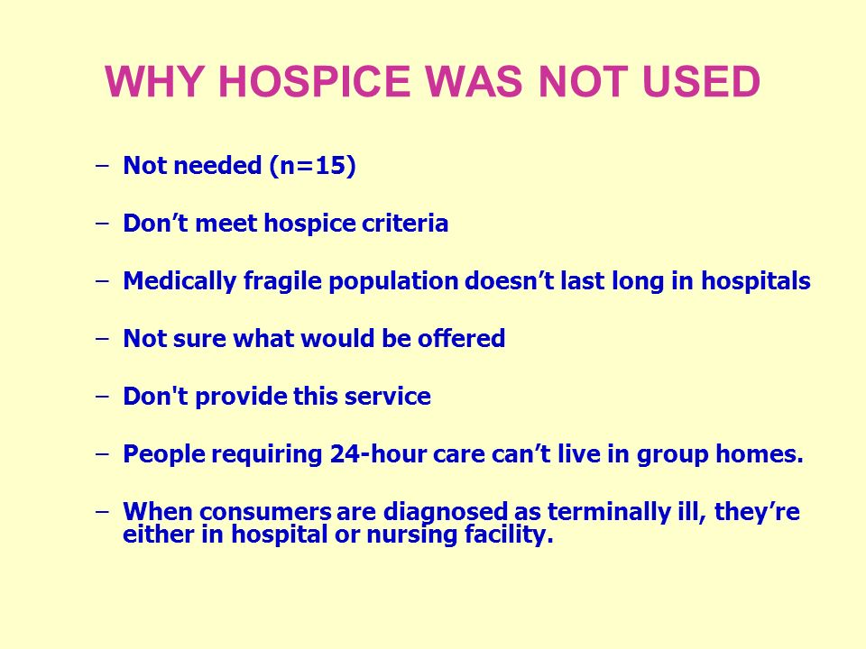 WHY HOSPICE WAS NOT USED –Not needed (n=15) –Dont meet hospice criteria –Medically fragile population doesnt last long in hospitals –Not sure what would be offered –Don t provide this service –People requiring 24-hour care cant live in group homes.