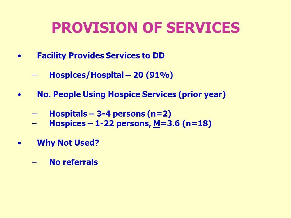 PROVISION OF SERVICES Facility Provides Services to DD –Hospices/Hospital – 20 (91%) No.