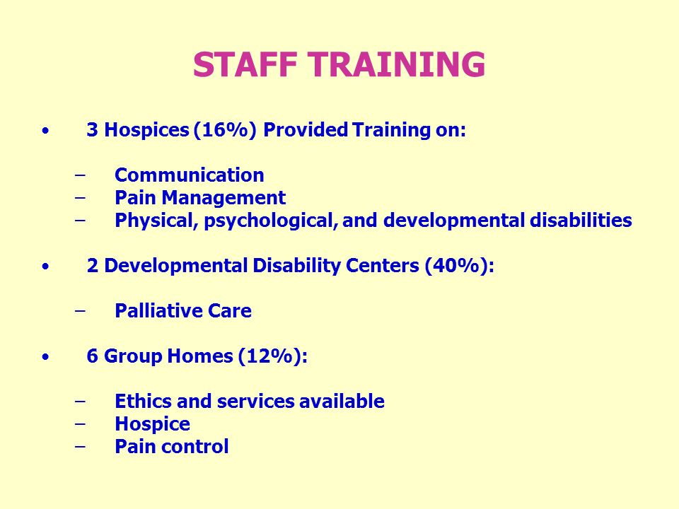 STAFF TRAINING 3 Hospices (16%) Provided Training on: –Communication –Pain Management –Physical, psychological, and developmental disabilities 2 Developmental Disability Centers (40%): –Palliative Care 6 Group Homes (12%): –Ethics and services available –Hospice –Pain control