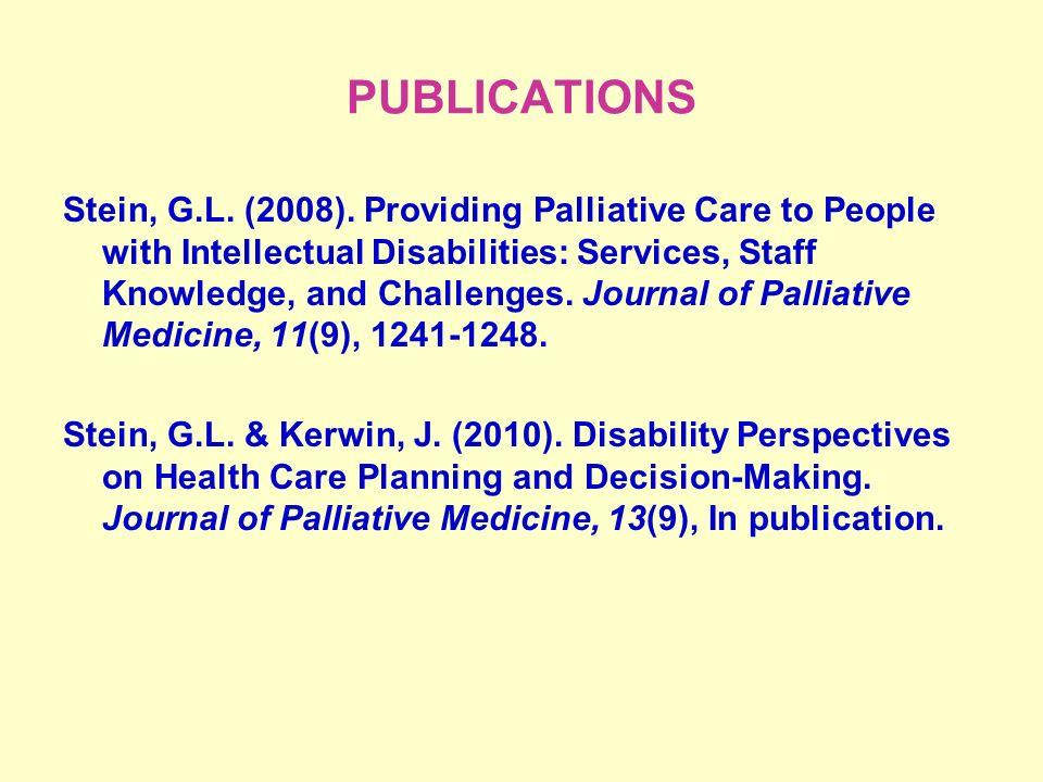 PUBLICATIONS Stein, G.L. (2008).