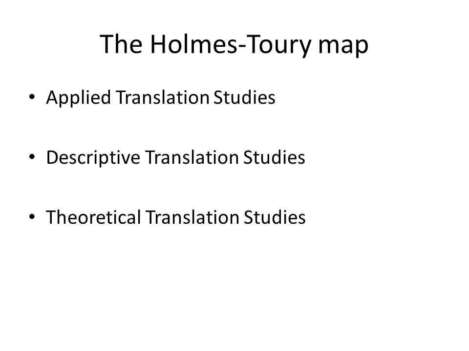 The Holmes-Toury map Applied Translation Studies Descriptive Translation Studies Theoretical Translation Studies