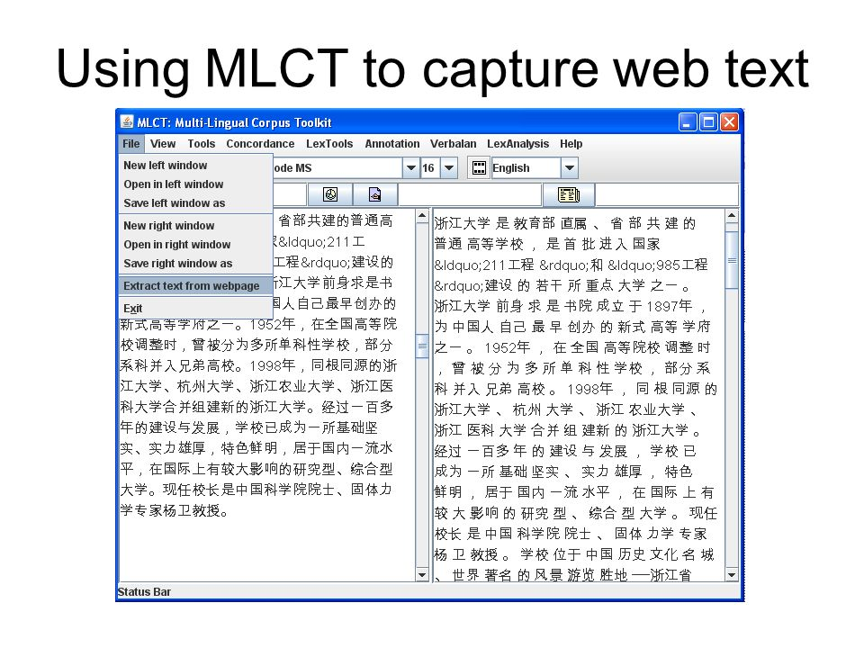 Using MLCT to capture web text