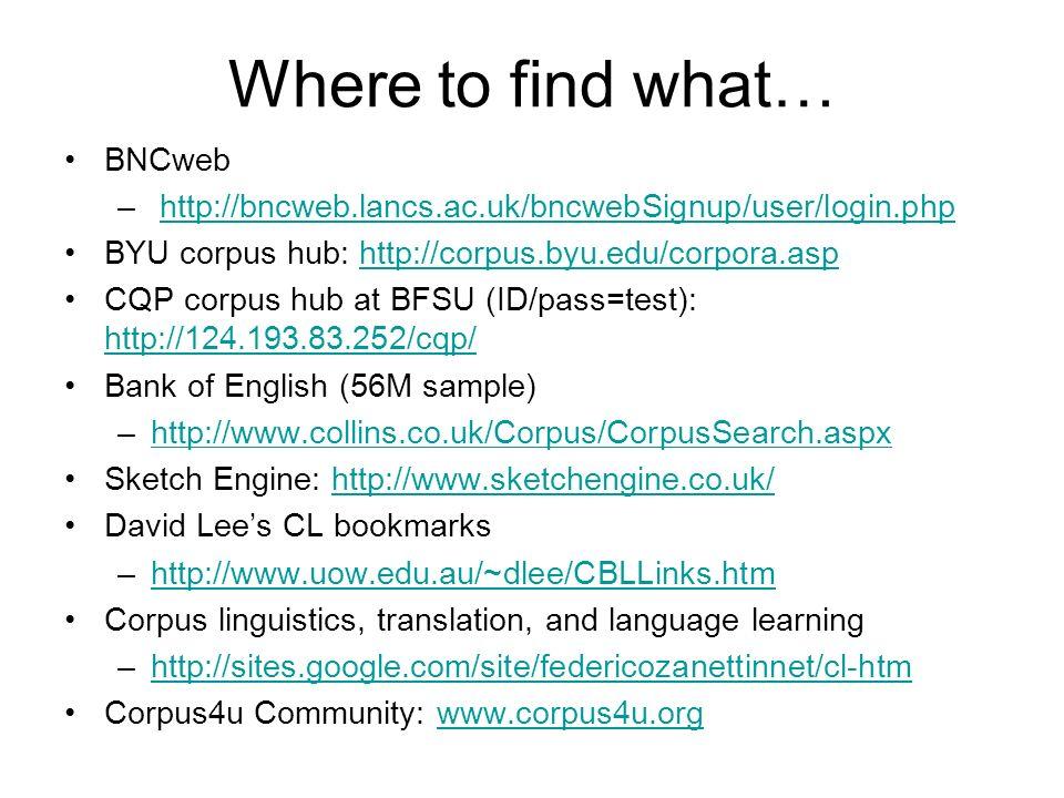 Where to find what… BNCweb – http://bncweb.lancs.ac.uk/bncwebSignup/user/login.phphttp://bncweb.lancs.ac.uk/bncwebSignup/user/login.php BYU corpus hub