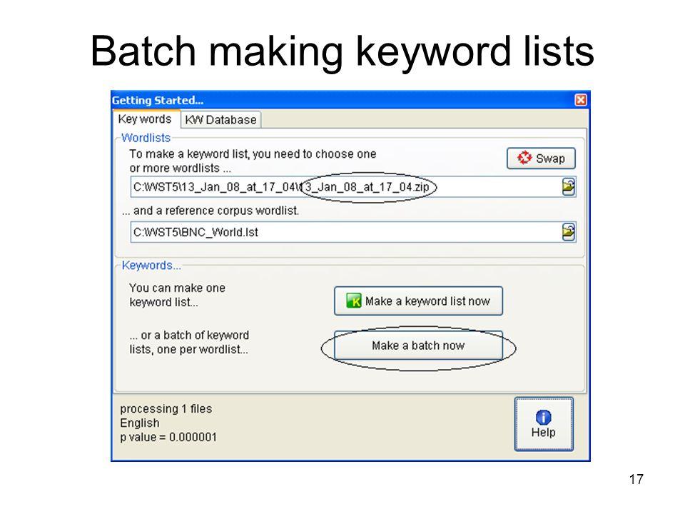Batch making keyword lists 17