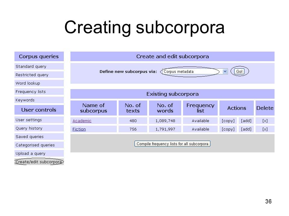 Creating subcorpora 36
