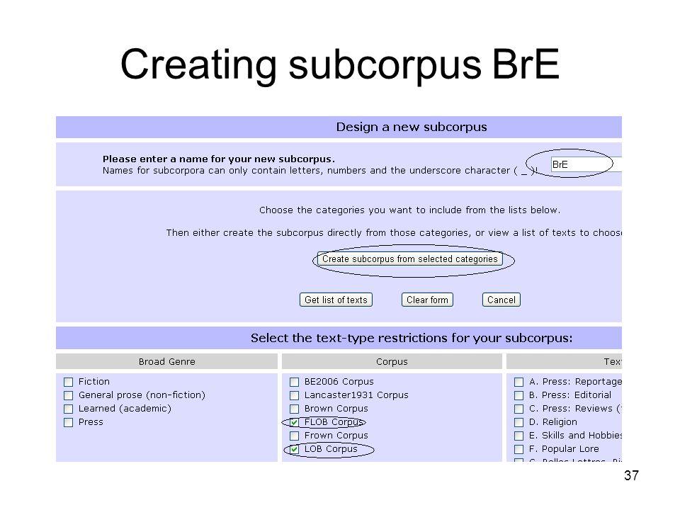 Creating subcorpus BrE 37