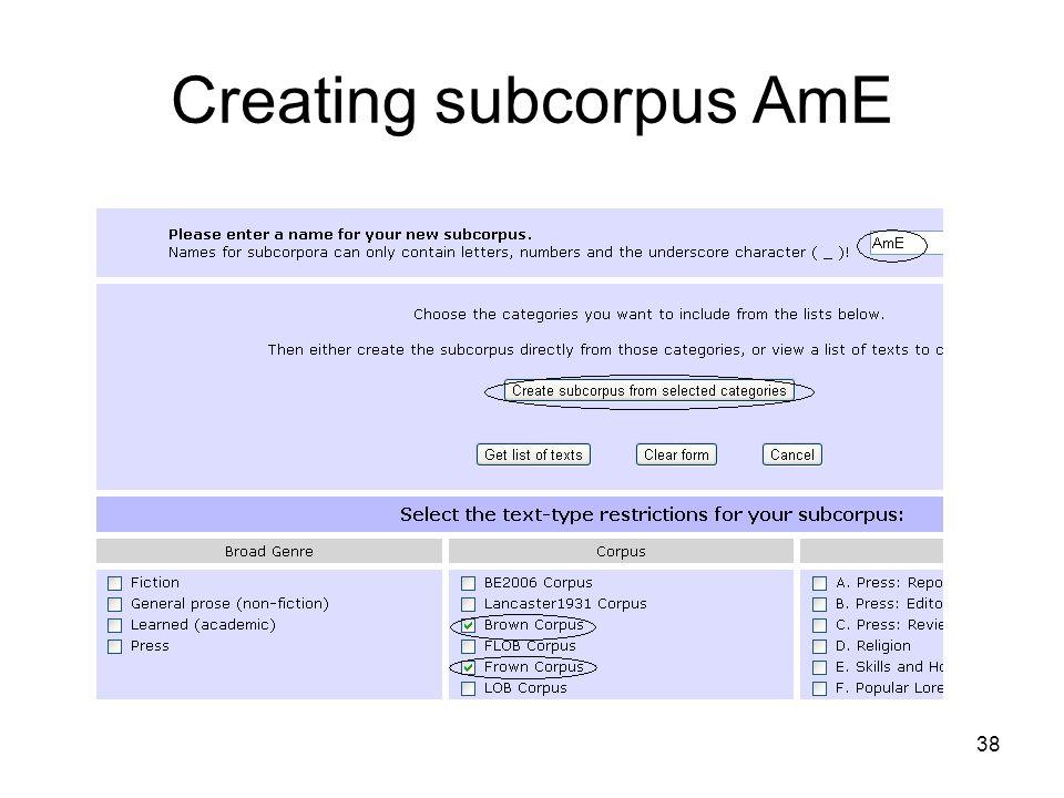 Creating subcorpus AmE 38
