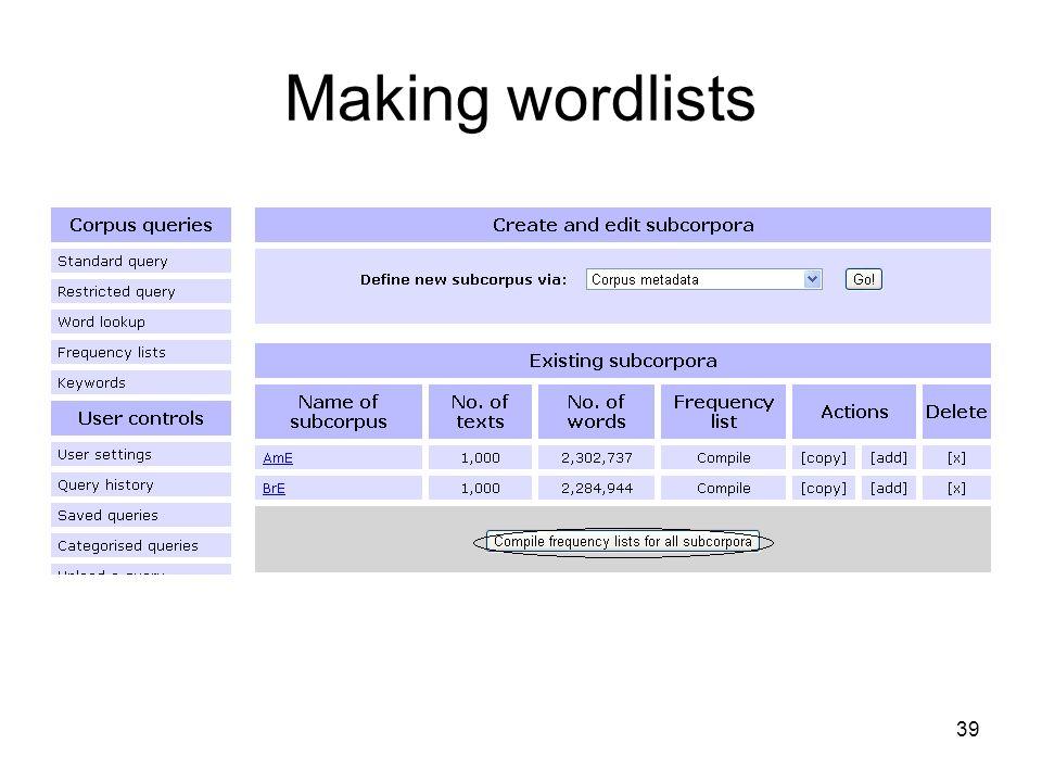 Making wordlists 39